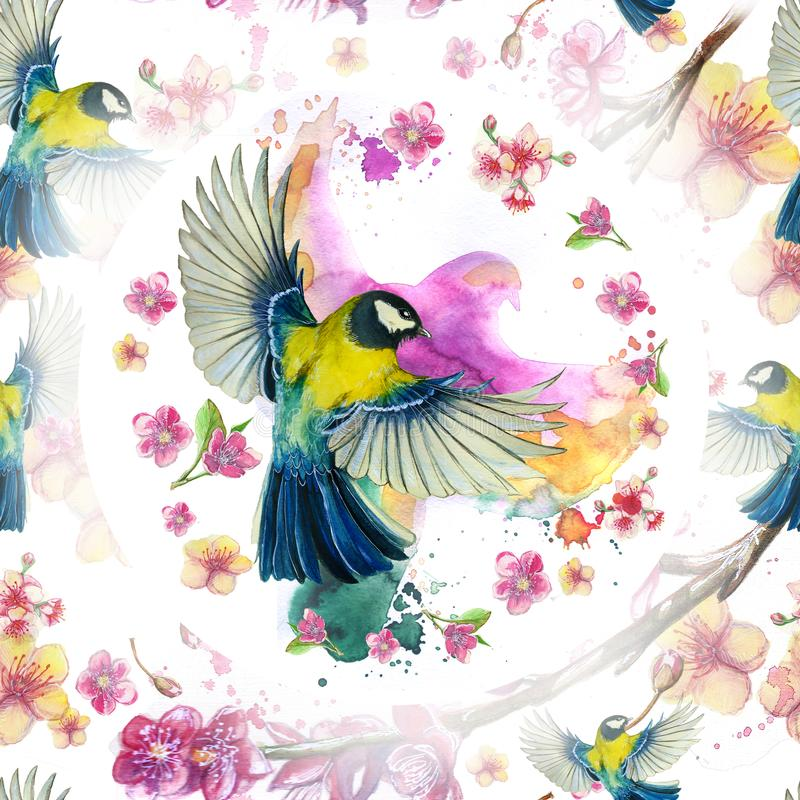 Watercolor drawing seamless pattern on the theme of spring, heat, illustration of a bird of a troop of passerine-shaped large tits royalty free illustration
