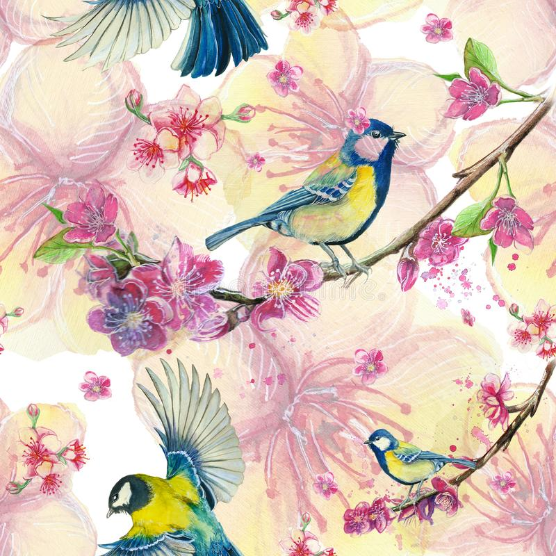 Watercolor drawing seamless pattern on the theme of spring, heat, illustration of a bird of a troop of passerine-shaped large tits stock illustration