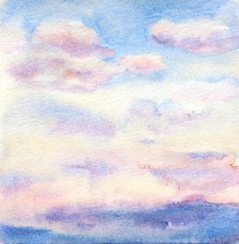 Watercolor drawing of the sky with colorful clouds stock image