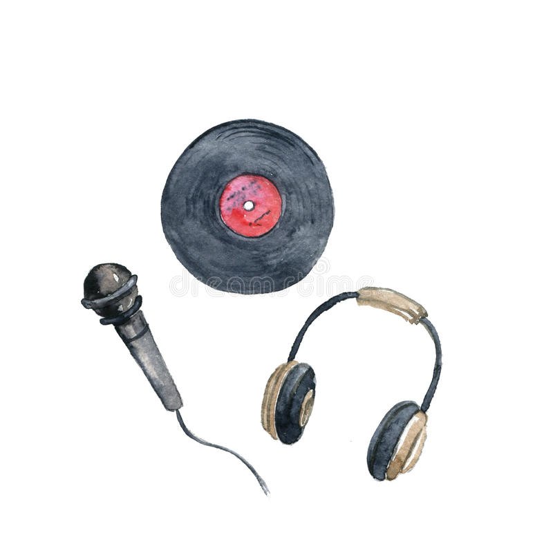 Watercolor drawing vinyl record, microphone and headphones. Hand drawn illustration stock illustration