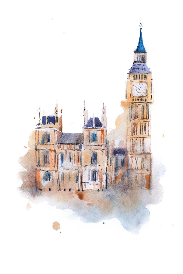 Watercolor drawing Westminster Palace in London. Aquarelle painting Houses of Parliament, Big Ben royalty free illustration