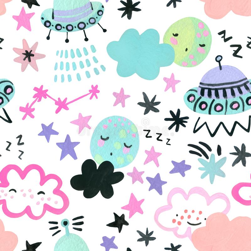Watercolor drawings of cartoon planets, moon, stars, comets, UFO in trendy color royalty free illustration