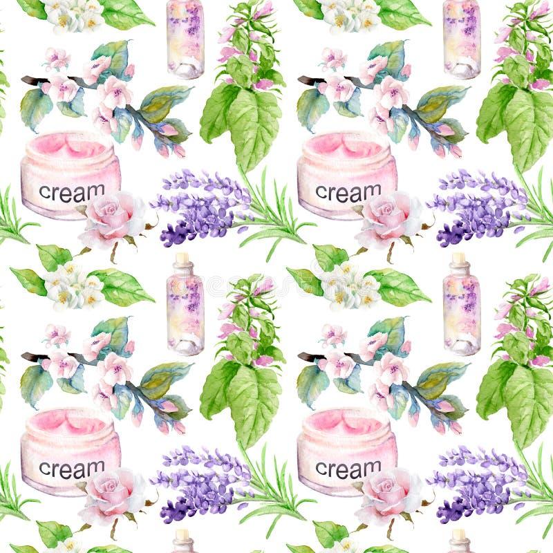 Watercolor drawings natural cosmetics, seamless pattern, organic. Watercolor drawings natural cosmetics, seamless pattern stock illustration