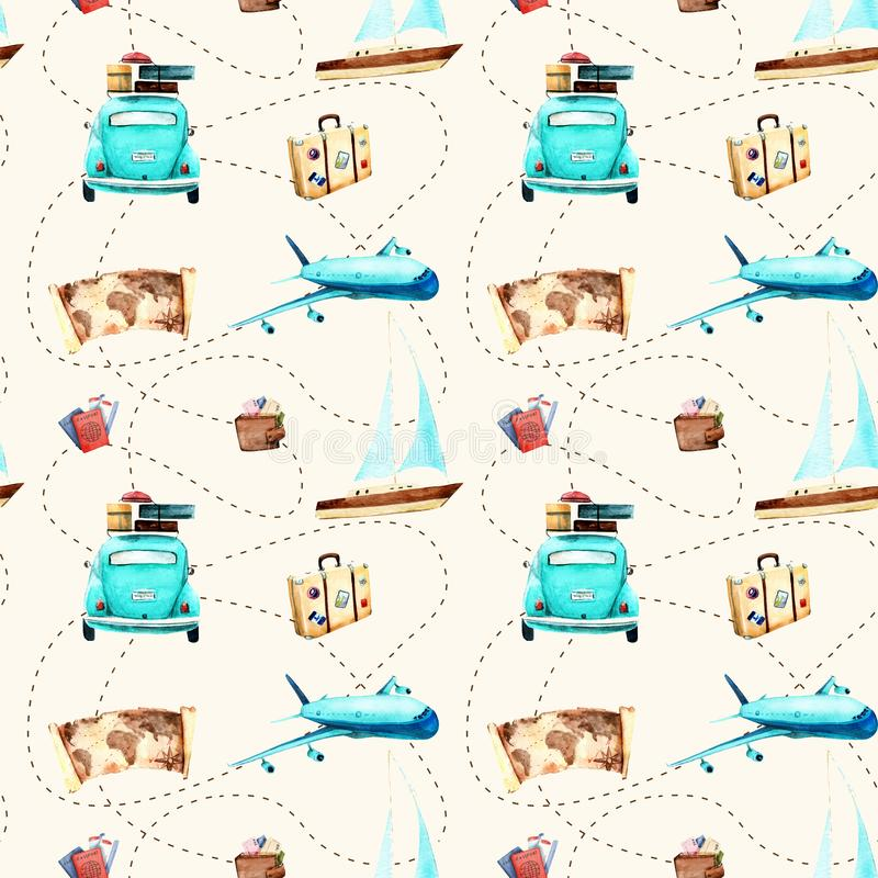 Watercolor drawings. pattern of travel. Suitcase, camera, passport, car, sailing ship, train, aircraft, motocycle processing in FS royalty free illustration