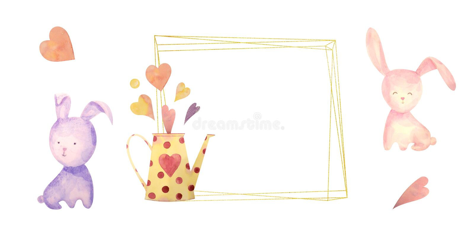 Watercolor drawn set with elements of happy easter. Frame, rabbit, eggs, isolated on white. for greeting card or logo stock illustration