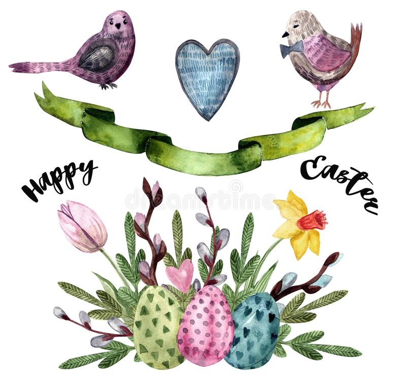 Watercolor drawn set with elements of happy easter stock illustration