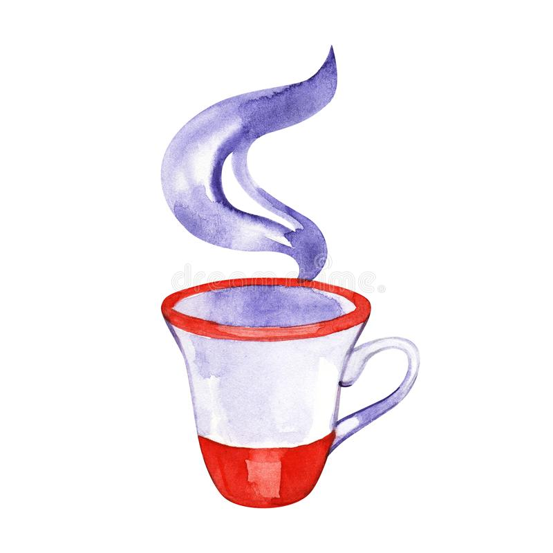 Watercolor drawn traditional english teacup. Illustration on a white background. Watercolor drawn traditional english teacup. Illustration on a white background stock photo