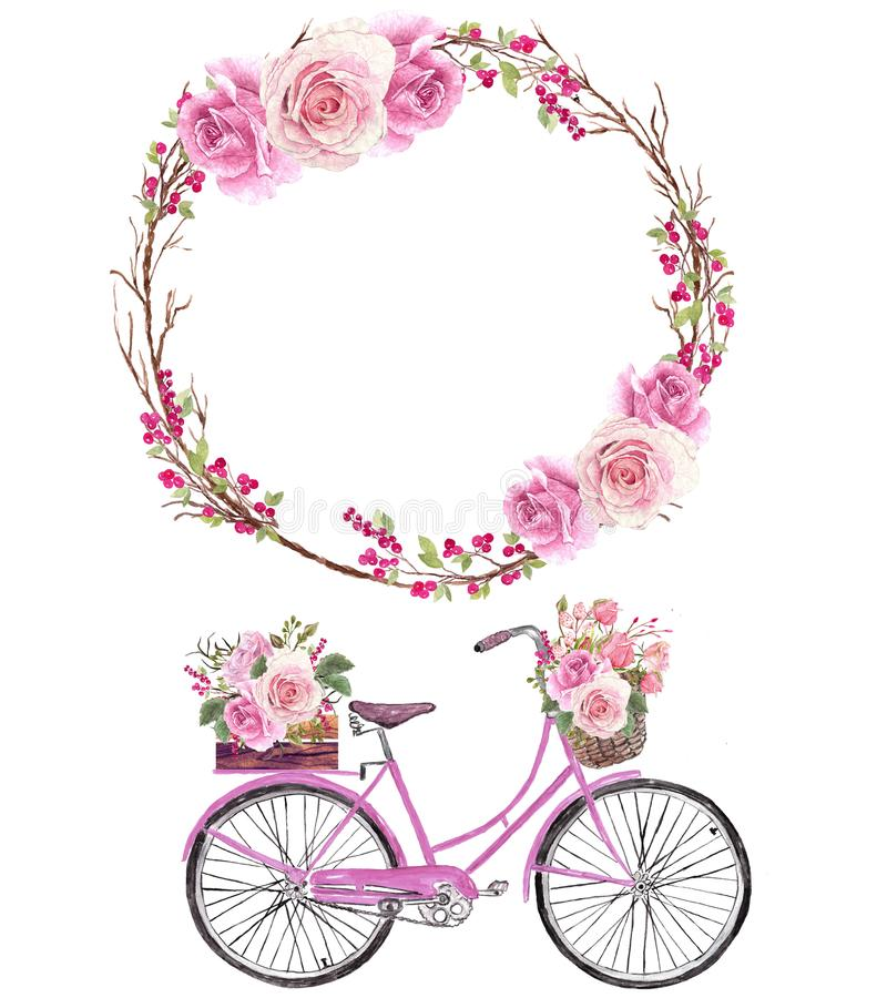 Watercolor bicycle with flower basket and pink flowers wreath royalty free stock photos