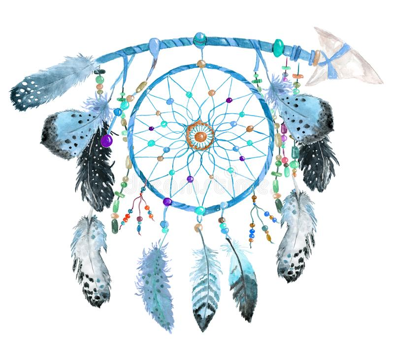 Watercolor dream catcher, Hand painted boho symbol royalty free stock photo