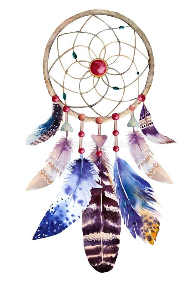 Watercolor dreamcatcher με τις χάντρες και τα φτερά ελεύθερη απεικόνιση δικαιώματος