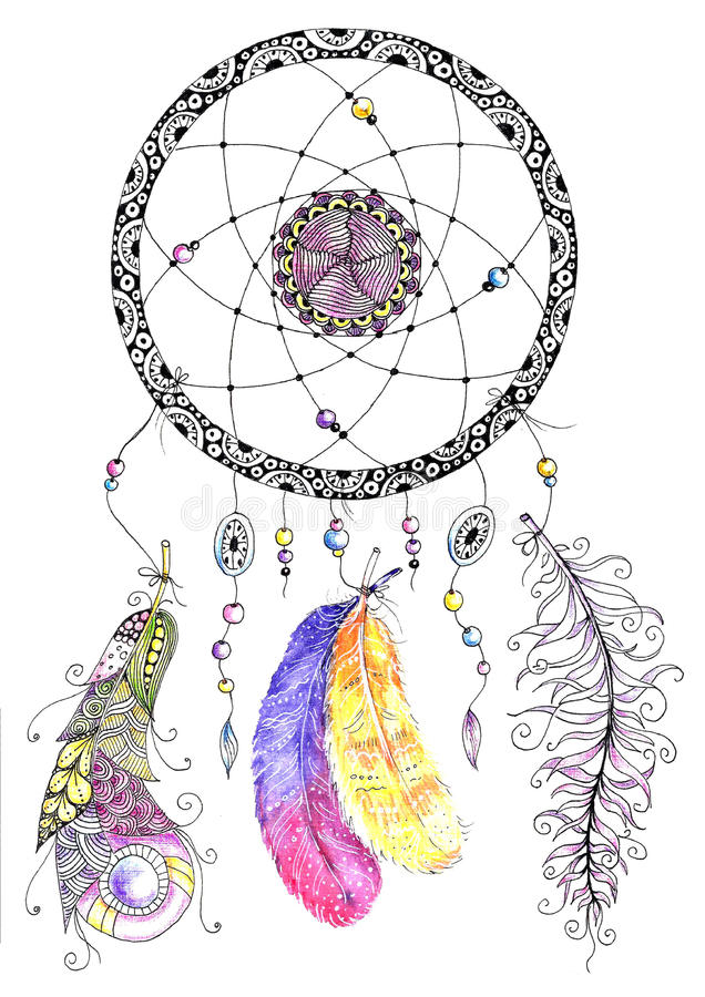 Watercolor dreamcatcher with beads and feathers stock photo