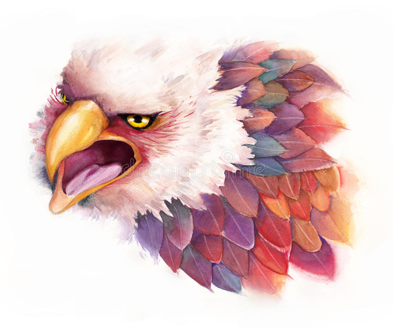 Watercolor Eagle in fantasy style. An illustration of fantasy eagle, done by watercolor stock illustration
