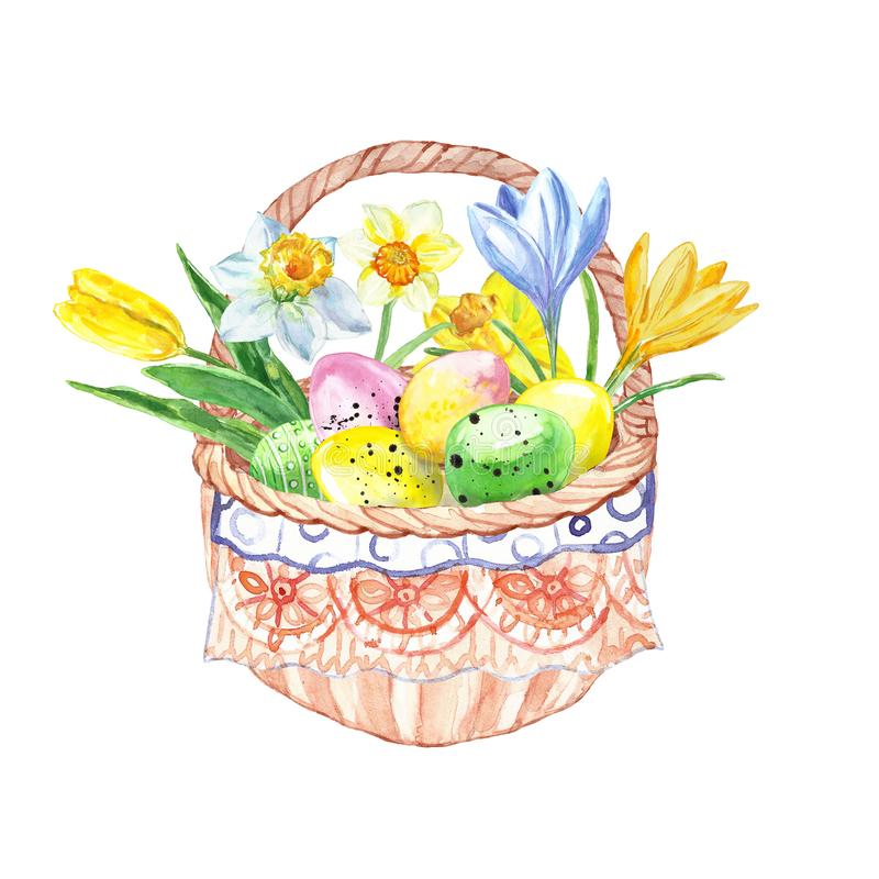 Watercolor Easter basket with hand painted spring colorful flowers and colored eggs. Happy easter card with decorative elements stock illustration