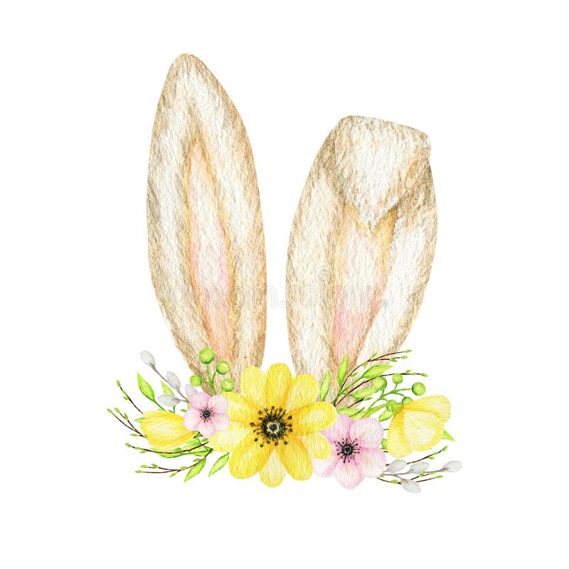 Baby Bonnet Watercolor Floral Blue Bunny Ears