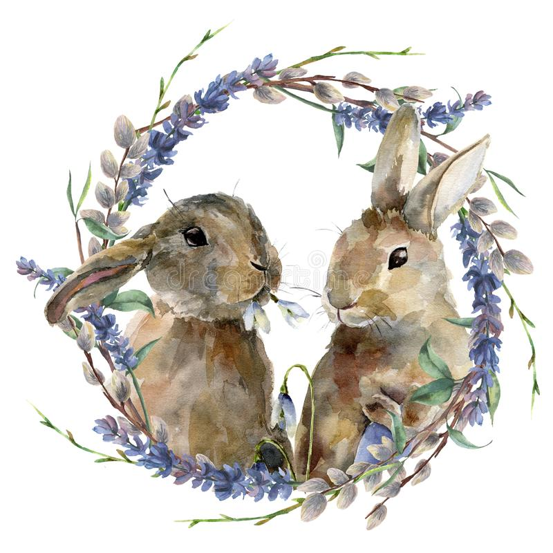 Watercolor Easter bunny with floral wreath. Hand painted rabbit with lavender, willow and tree branch isolated on white royalty free illustration