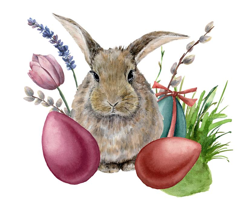 Watercolor easter bunny. Hand painted card with colored eggs, bunny, lavender, tulip, willow, grass and tree branch. Isolated on white background. Holiday print royalty free illustration