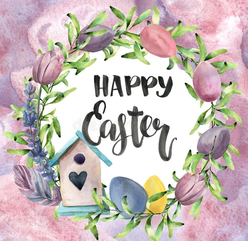 Watercolor easter card with abstract background. Watercolor spring wreath with birdhouse, greenery, eggs, tulips and stock illustration