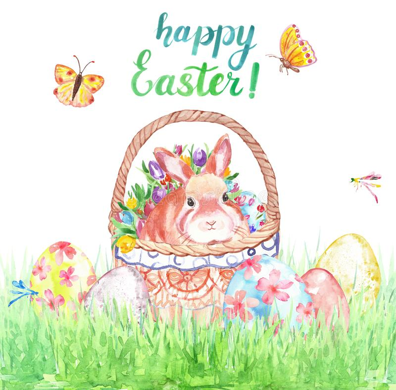 Watercolor Easter card with cute bunny in basket, colored eggs and green grass, isolated on white background. royalty free stock photo
