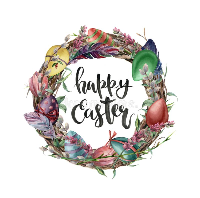 Watercolor easter card with eggs, flowers and lettering. Hand painted illustration with willow, tulip, feather and tree stock illustration