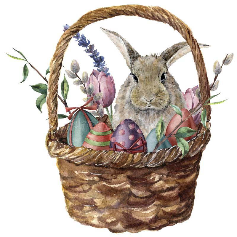 Watercolor easter card. Hand painted basket with colored eggs, bunny, lavender, tulip, willow and tree branch isolated stock illustration