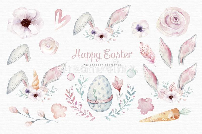 Watercolor Easter elements, Spring blossom, branch, Easter eggs, colorful eggs, bunny and bannies ears. rabbit vector illustration