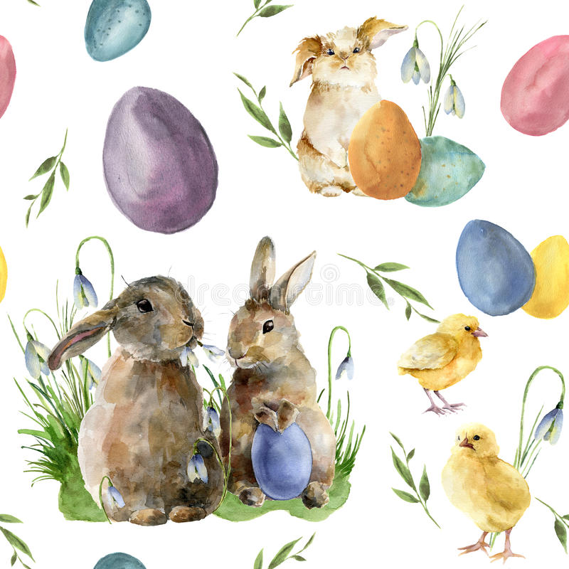 Watercolor easter pattern with rabbit and chick. Holiday ornament with bunny, bird, colored eggs and snowdrops isolated stock illustration