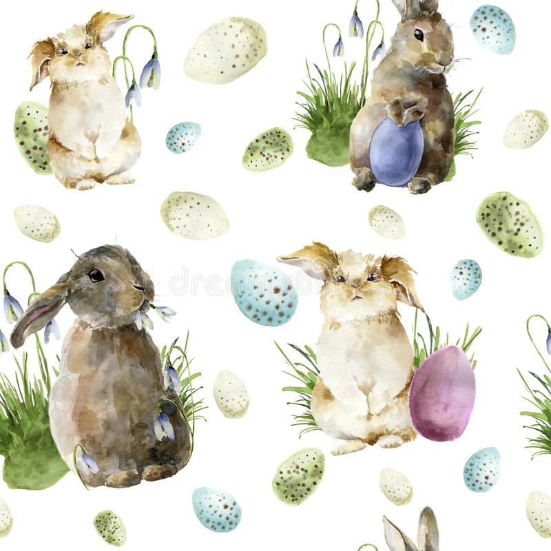 Watercolor easter pattern with rabbit. Holiday ornament with bunny, colored eggs and snowdrops isolated on white stock illustration
