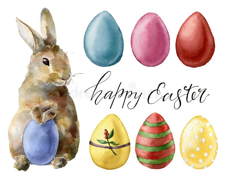Watercolor easter rabbit and eggs set. Holiday collection with bunny and colored eggs isolated on white background. Nature illustration for design or fabric royalty free illustration