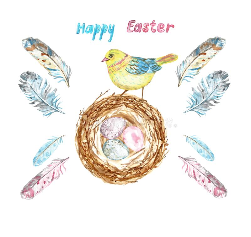 Watercolor Easter set with chick bird, nest with colored eggs and assorted feathers. stock photography