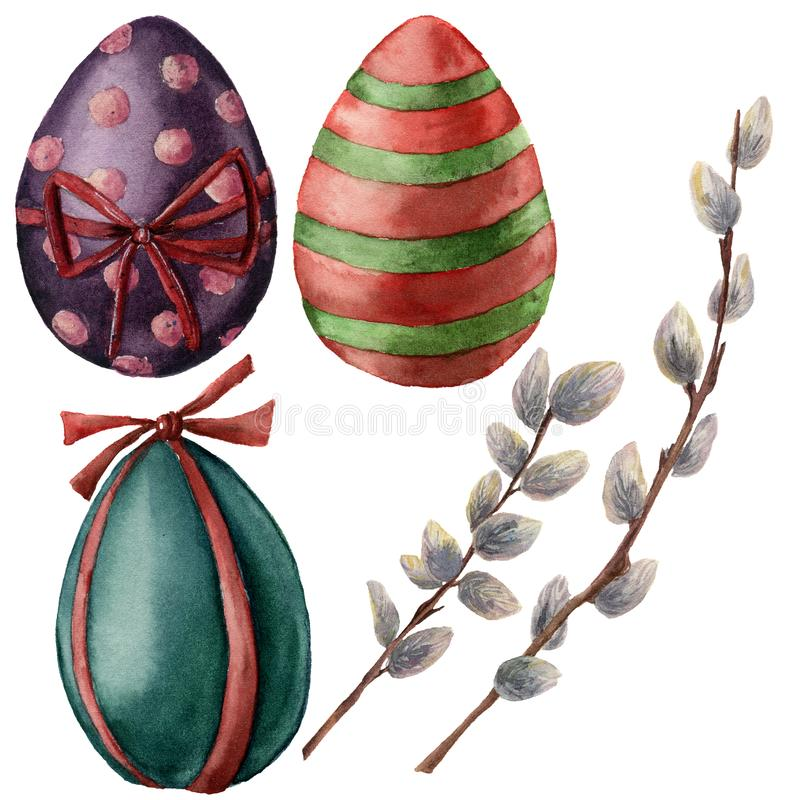Watercolor Easter set with eggs and willow branch. Hand painted willow and bright eggs with decor. Holiday stock illustration