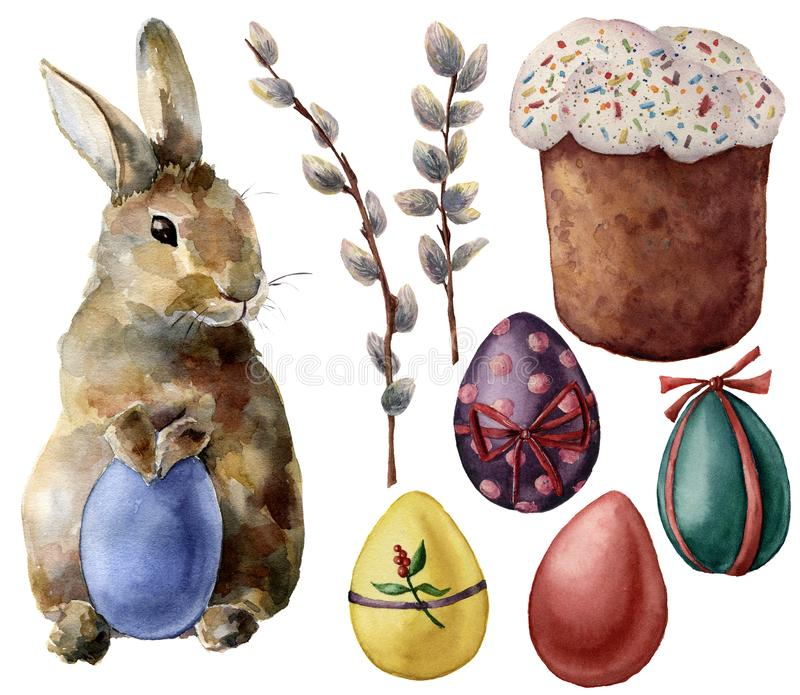 Watercolor Easter symbols set with eggs and bunny. Hand painted color eggs, willow branch, Easter cake, rabbit royalty free illustration