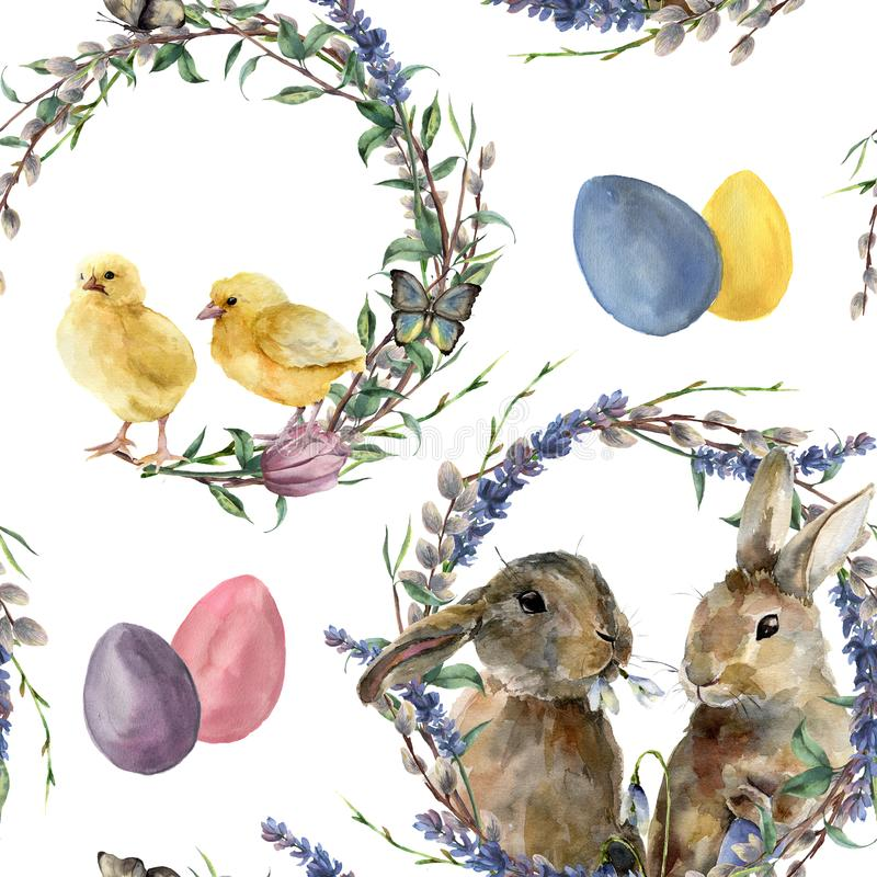 Watercolor easter wreath pattern. Hand painted rabbit, chicken with lavender, willow, tulip, color eggs, butterfly and. Tree branch isolated on white background vector illustration