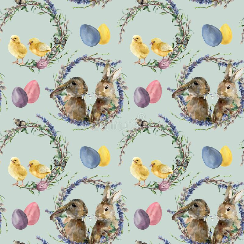 Watercolor easter wreath pattern with rabbit. Hand painted chicken with lavender, willow, tulip, color eggs, butterfly. And tree branch isolated on white vector illustration
