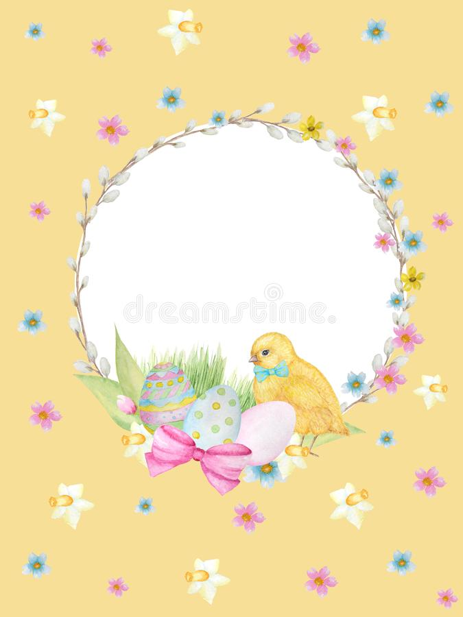 Watercolor Easter wreath on yellow background. Greeting cards design, banners, invitations, poster concept. Hand painted royalty free stock photos