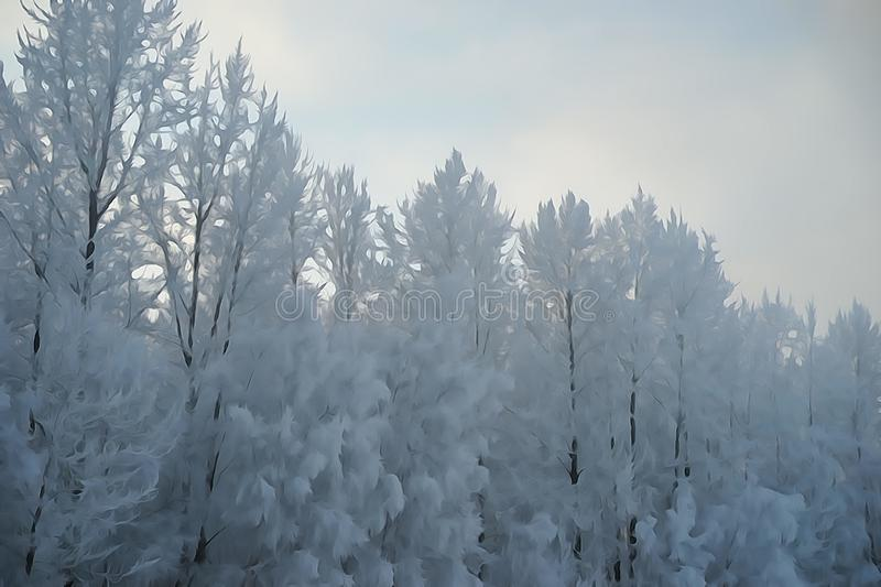 watercolor effect on snow covered trees royalty free stock photos