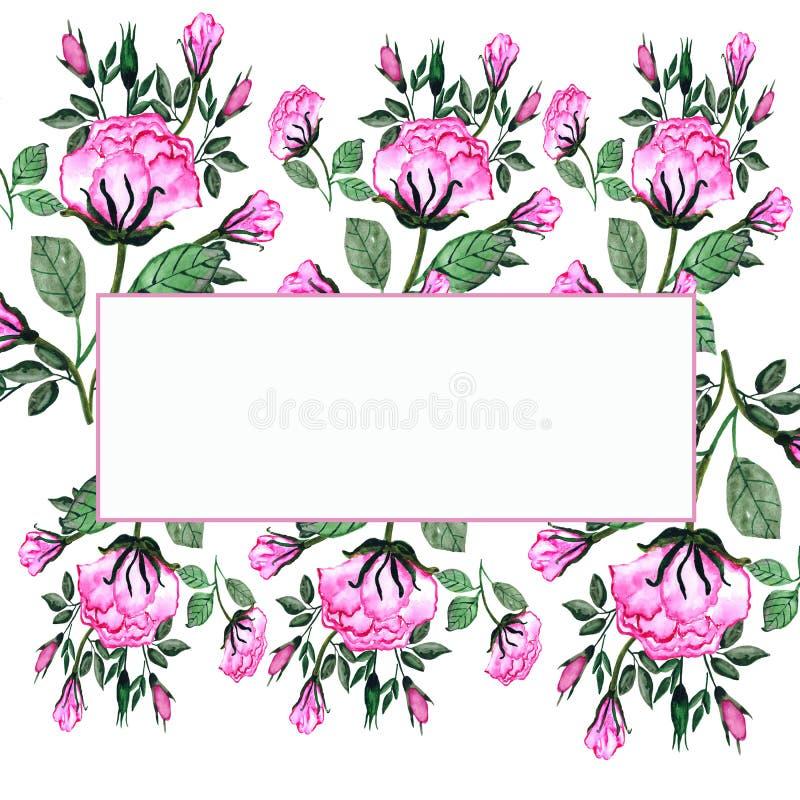 watercolor Ein Blumenstrauß von Rosen und von Knospen in einem rechteckigen Rahmen Einladungskarte f?r die Heirat, Geburtstag und vektor abbildung