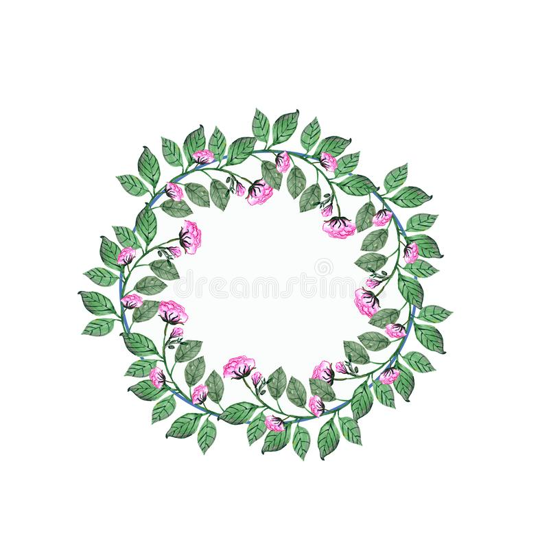 watercolor Ein Blumenstrauß von Rosen und von Knospen in einem runden Rahmen Einladungskarte f?r die Heirat, Geburtstag und ander stock abbildung