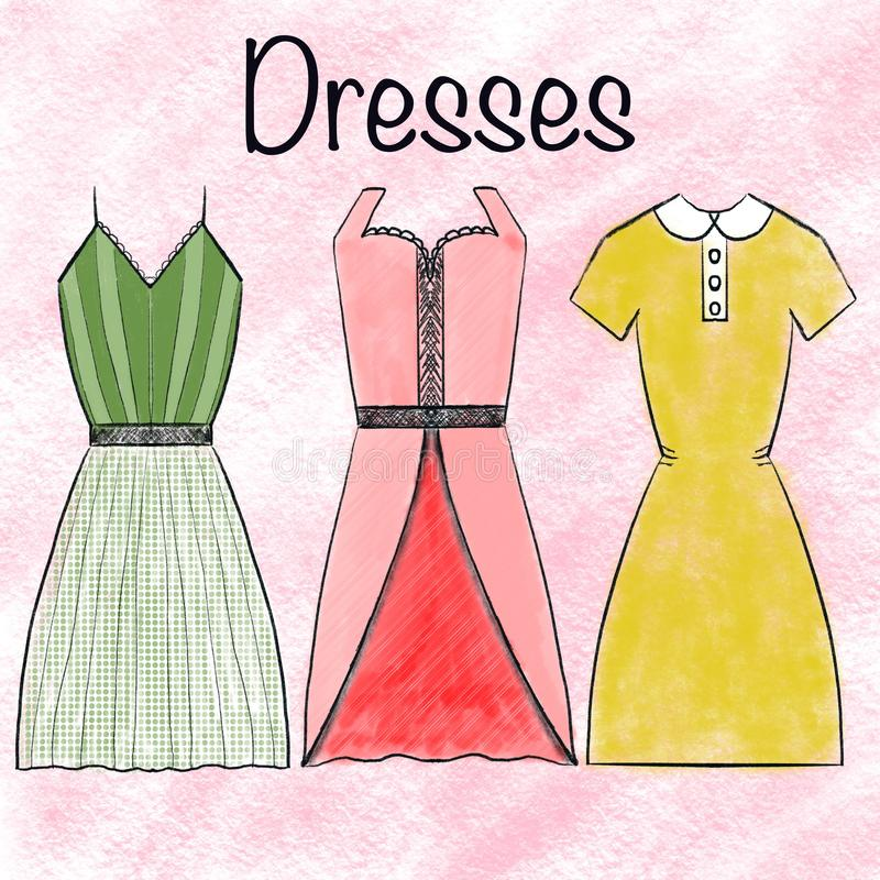 Watercolor Elegant decoration dresses collection on pink background. Fashion, style, beauty. The concept of teaching children,. Books, fashion, textiles royalty free illustration