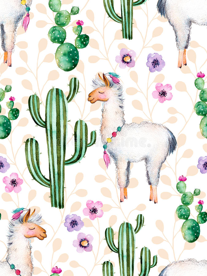 Watercolor elements for your design with cactus plants,flowers and lama. royalty free illustration