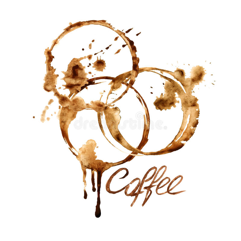 Watercolor emblem with coffee stains royalty free illustration