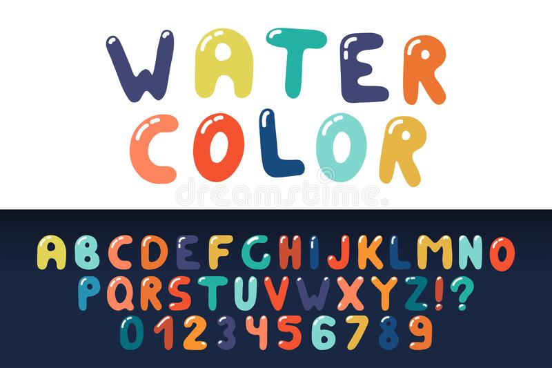 Watercolor english creative alphabet. Vibrant funky font. Colorful latin letters and numerals vector illustration