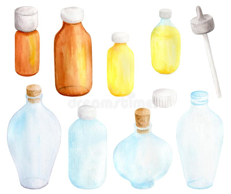 Watercolor essential oil in glass dropper bottles set. Hand drawn aromatherapy spa elements collection on white background for stock image