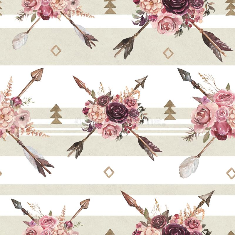Watercolor ethnic boho seamless pattern of arrows & flower bouquet & ornament on bright background 皇族释放例证