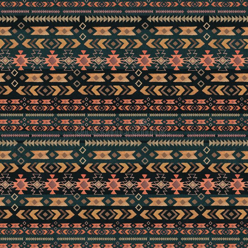 Watercolor ethnic boho seamless pattern of ornament, tribal sign on black background 向量例证