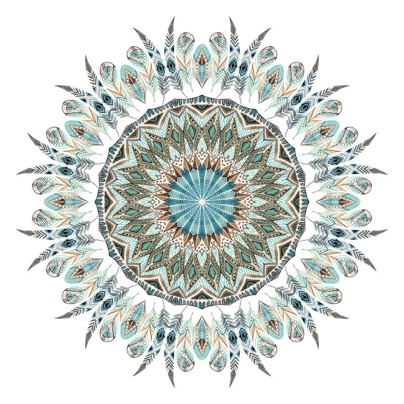 Free Watercolor Ethnic Feathers Abstract Mandala. Royalty Free Stock Photo - 81961765