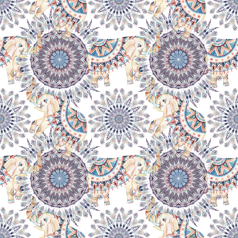 Watercolor ethnic feathers abstract mandala. stock illustration