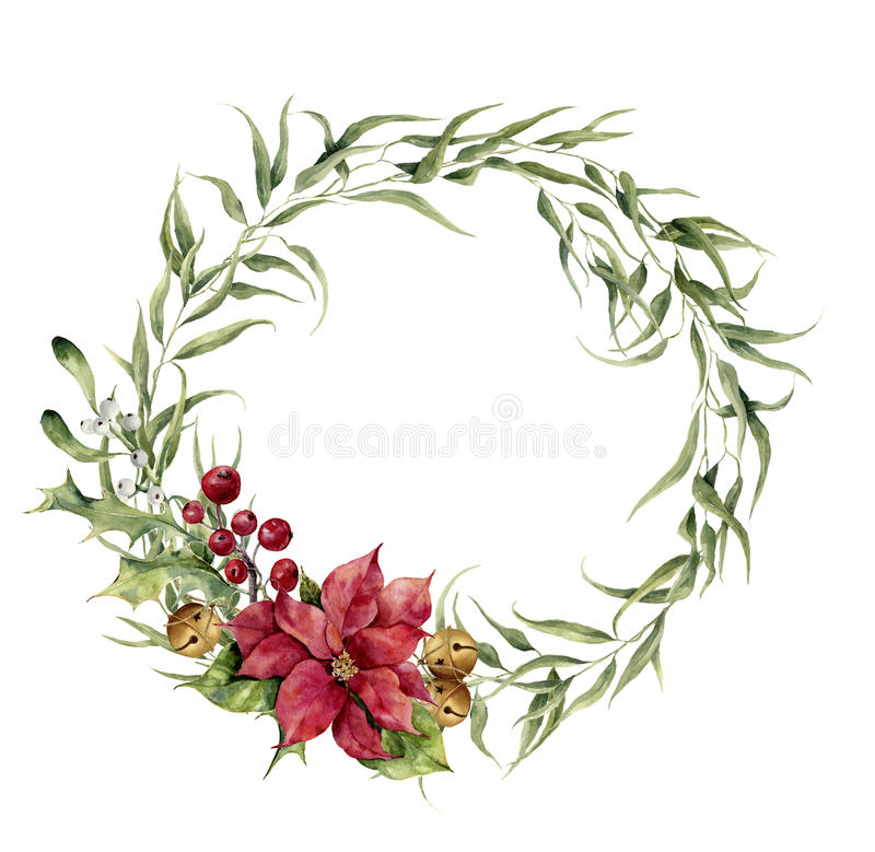 Watercolor eucalyptus wreath with bells, holly, mistletoe and poinsettia. Eucalyptus branch and christmas decor for. Design, print or background vector illustration