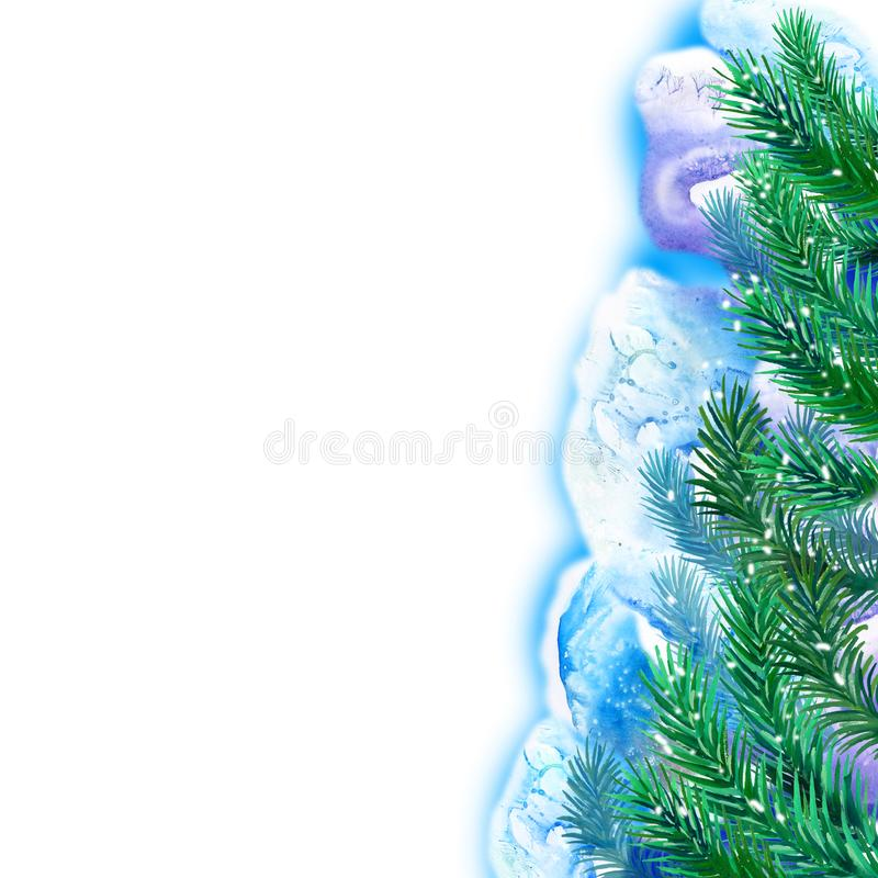 Watercolor evergreen spruce framing on free paint design background. Hand drawn christmas tree with snow cap. New Year 2017. Greeting card design template. Add vector illustration