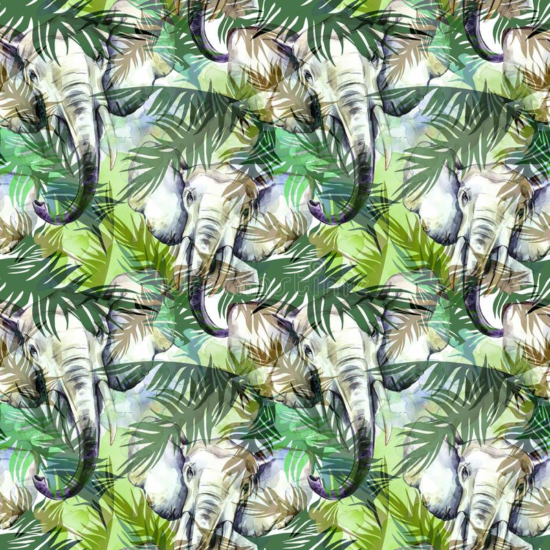 Watercolor exotic seamless pattern. Elephants with colorful tropical leaves. African animals background. Wildlife art. Illustration. Can be printed on T-shirts stock illustration