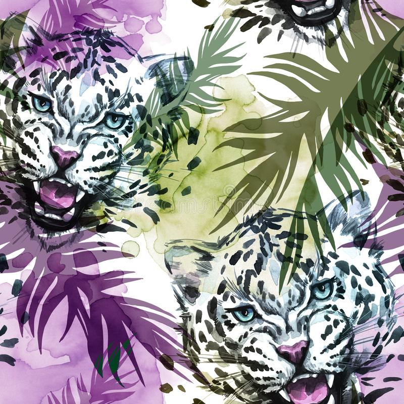 Watercolor exotic seamless pattern. Leopards with colorful tropical leaves. African animals background. Wildlife art. Illustration. Can be printed on T-shirts stock illustration